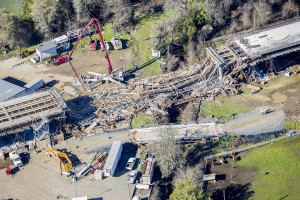 Willits Bypass section collapse ~ photo courtesy Steve Eberhart, photographer, Willits News